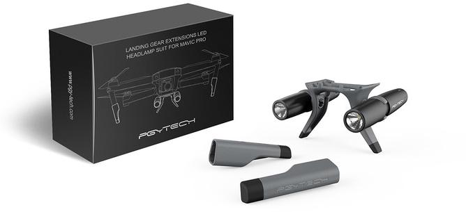 Комплект шасси с подсветкой и ножек для Mavic Pro (Pgytech — Mavic Pro LED Headlight Set & Landing Gear Extensions)-0